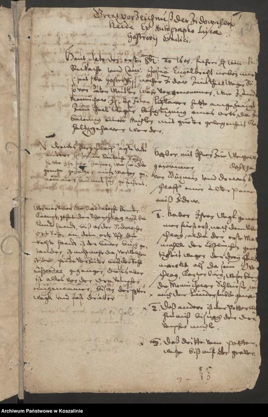 """Obraz 1 z kolekcji """"Granice miasta Koszalina. Tom I: 1558-1689 [odpis dokumentu z 1337 roku]"""""""