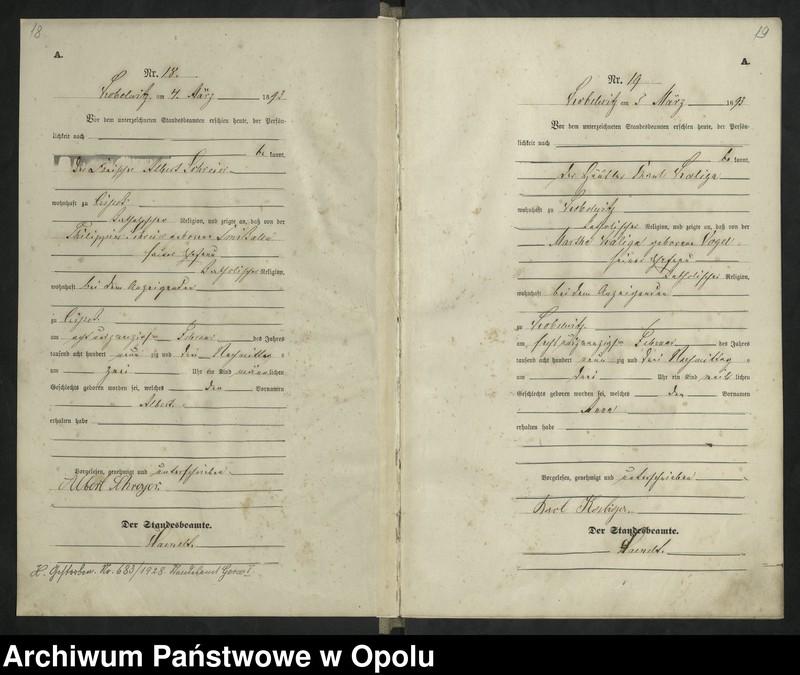 """Obraz 13 z jednostki """"Urząd Stanu Cywilnego Kobylice Księga urodzeń rok 1893"""""""