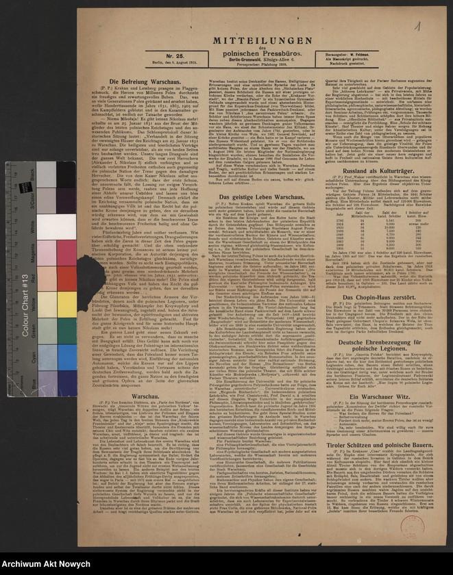"""Obraz z jednostki """"Mitteilungen des polnischen Pressburos - Berlin, nr. 25-26"""""""