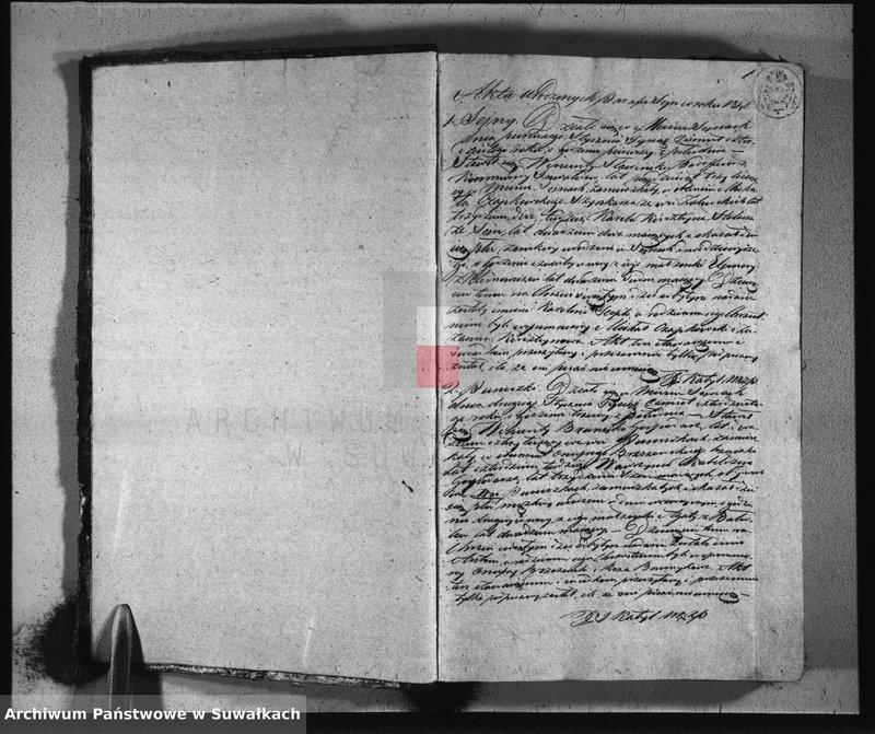 """Obraz z jednostki """"Księga duplikat parafii seyneńskiey do zapisywania akt urodzonych, zaślubionych i zmarłych na rok 1840 służąca"""""""