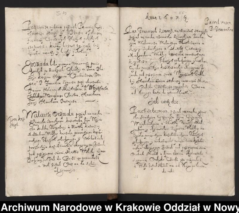 """Obraz 6 z kolekcji """"Fragment księgi cechu szewskiego w Starym Sączu z lat 1603-1709"""""""
