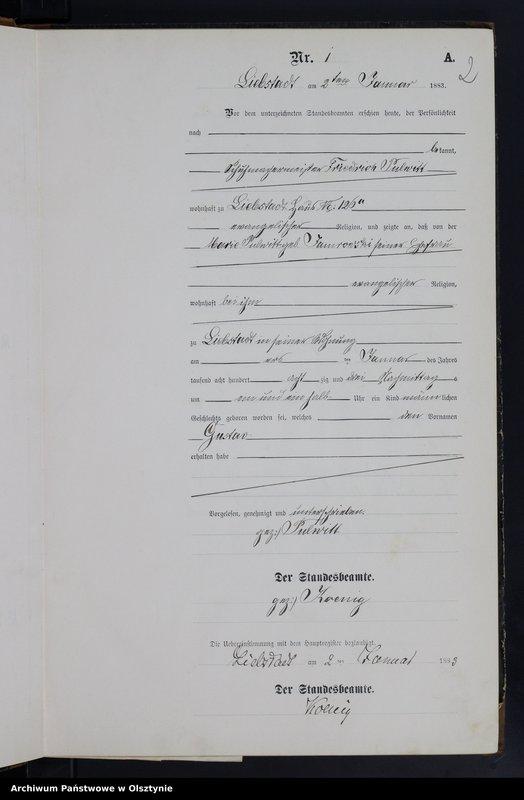 """Obraz z jednostki """"Geburts-Neben-Register Nr 1 - 102"""""""