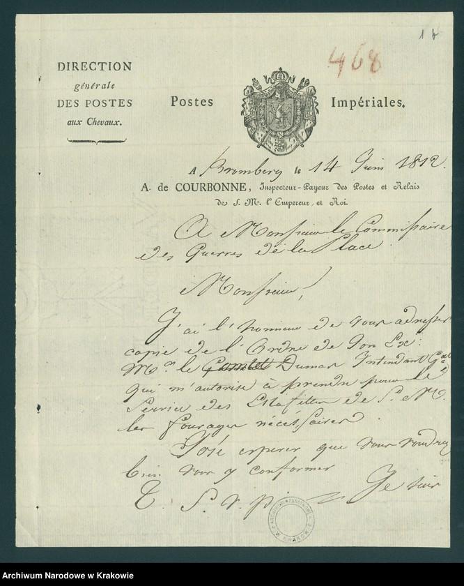 """Obraz z jednostki """"Akta dotyczące pobytu armii napoleońskiej w Polsce. Sprawy kwater, furażu, rekwizycji - dołączona korespondencja generałów francuskich (komisarzy)"""""""