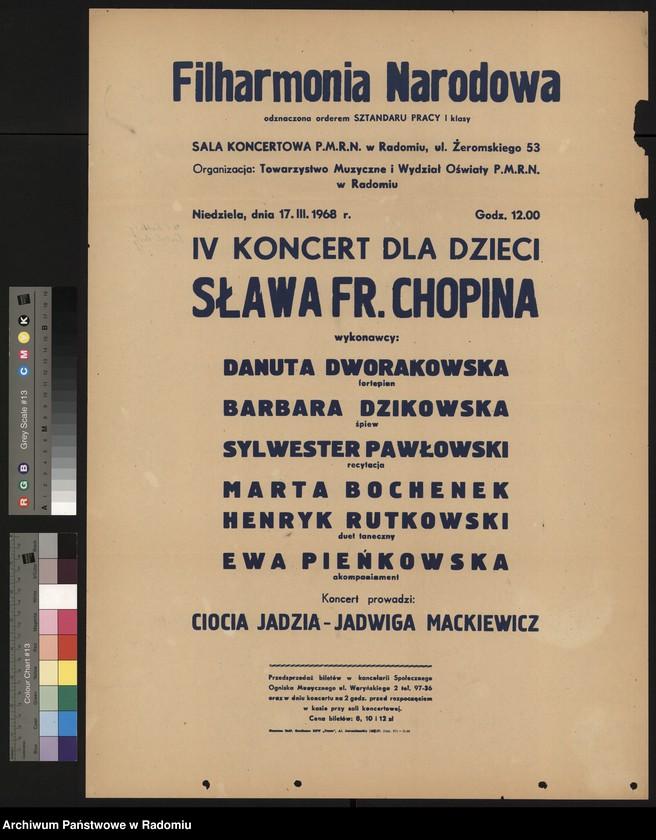 """Obraz z jednostki """"Plakat z rysunkiem dzieci czytającymi ogłoszenie, informujący o koncercie dla dzieci w dn. 17.III.1968 r. pt. """"Sława Fryderyka Chopina"""""""""""