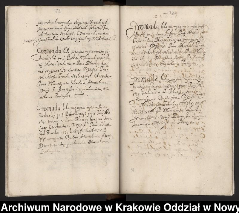 """Obraz 9 z kolekcji """"Fragment księgi cechu szewskiego w Starym Sączu z lat 1603-1709"""""""