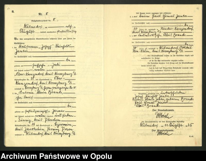 "Obraz 11 z jednostki ""Heirats-Register (Neben-Register) Standesamt Wilmsdorf Kreis Kreuzburg O/S 1935 vol.61 No. 1 bis 12"""