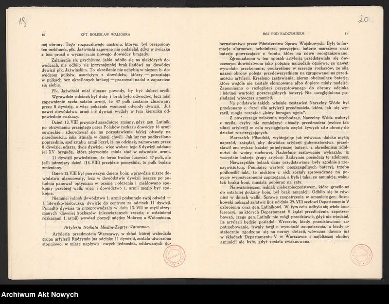 """Obraz 14 z jednostki """"Materiały dotyczące wojny 1920 roku. Odpisy akt, plany, wycinki prasowe. """""""