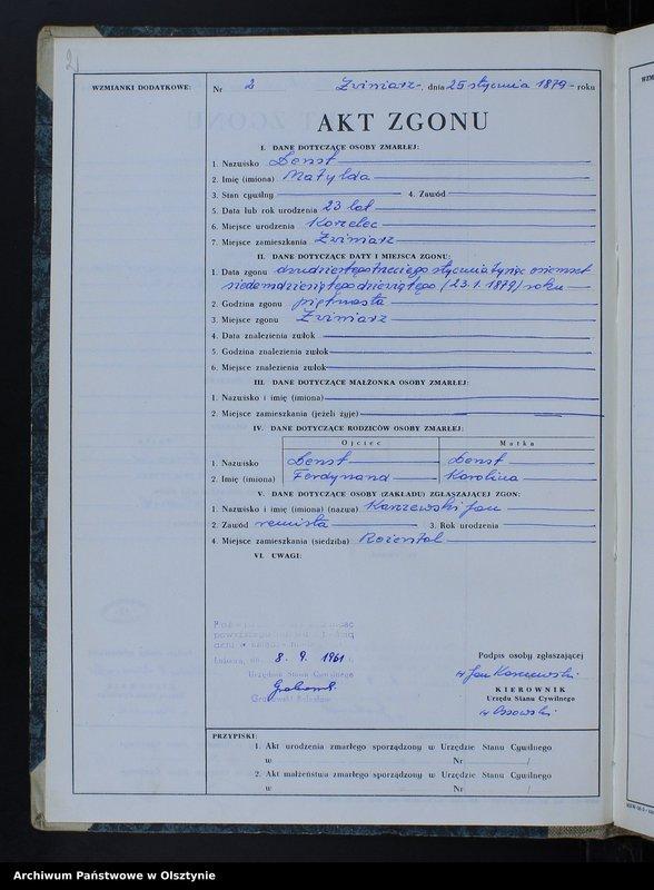 """Obraz z jednostki """"Księga zgonów Nr 1 - 66,1 - 51 i 1 - 44 /przepisana w języku polskim z oryginału niemieckiego w dniach 8.09.- 15.09.1961/"""""""