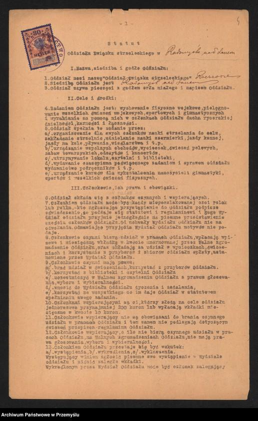 """Obraz 6 z jednostki """"Statut Oddziału Związku Strzeleckiego w Radomyślu nad Sanem"""""""