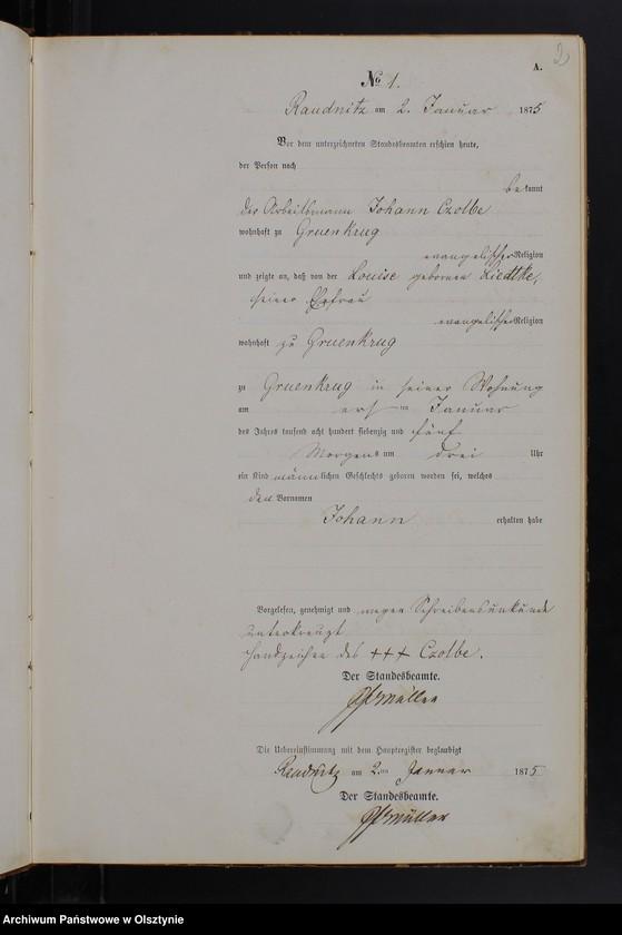 """Obraz z jednostki """"Geburts-Neben-Register Nr 1 - 183"""""""