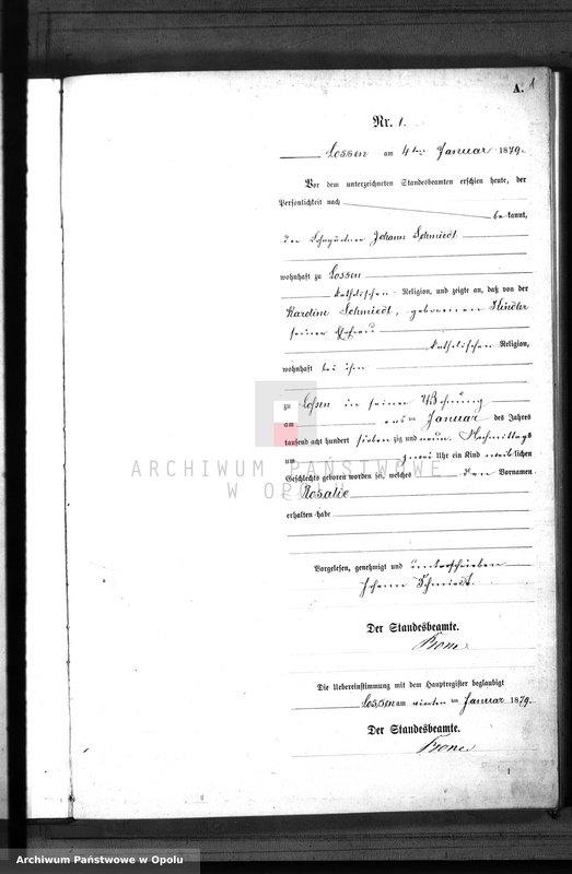 "Obraz 4 z jednostki ""Geburts-Neben-Register Standes-Amt Lossen 1879"""