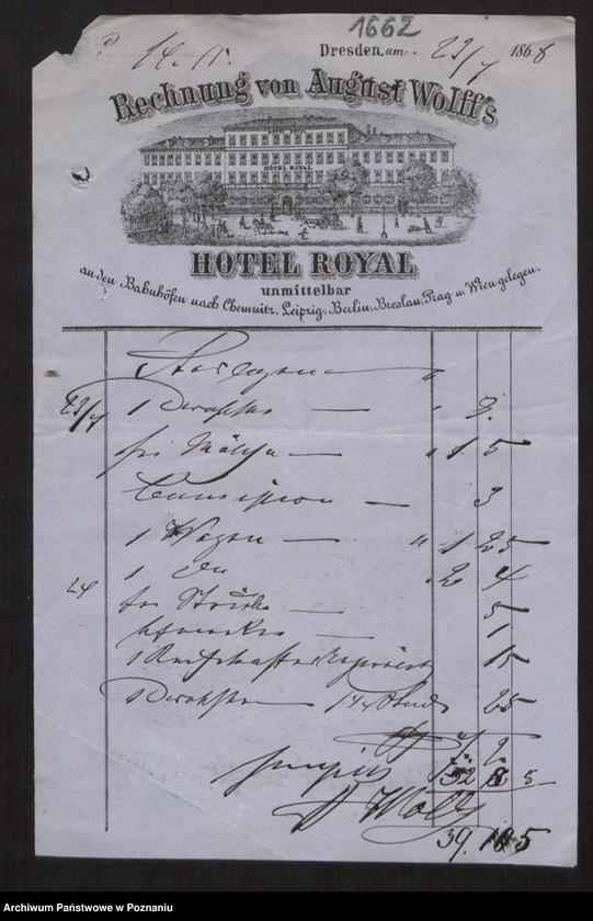 """Obraz 5 z kolekcji """"Egzotyczny papier listowny i rachunki z elitarnych hoteli - podróże rodziny Radolińskich"""""""