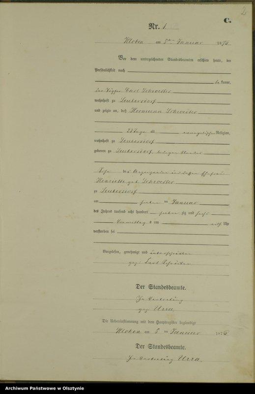 "Obraz z jednostki ""Sterbe-Neben-Register Nr 1 - 77"""