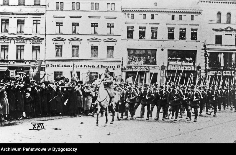 """Obraz z jednostki """"Powitanie oddziałów Wojska Polskiego na Starym Rynku w Bydgoszczy 20 stycznia 1920 roku"""""""