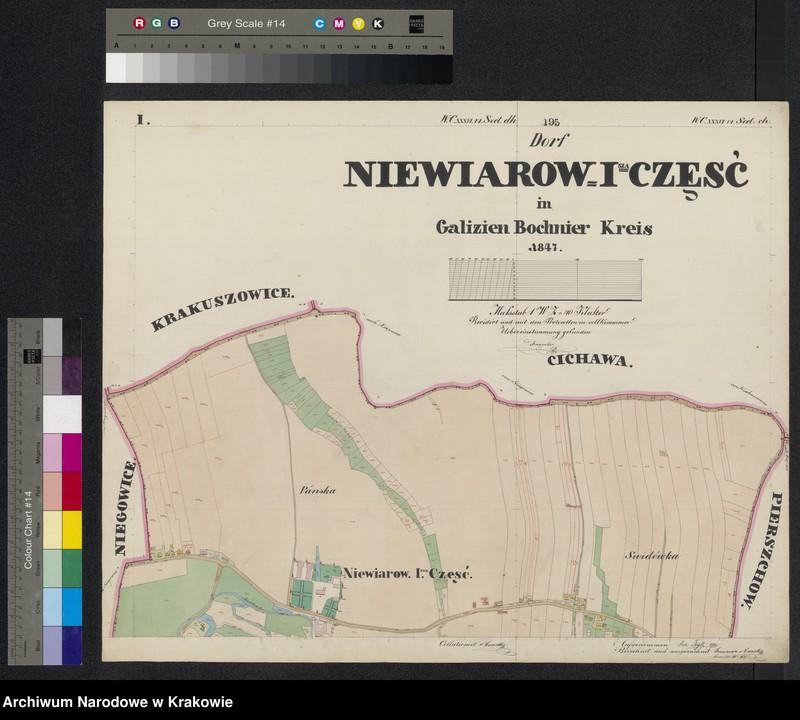"""Obraz z jednostki """"195 Dorf Niewiarow [Niewiarów] I-sza część in Galizien Bochnier Kreis"""""""