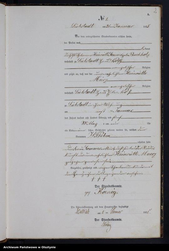 """Obraz z jednostki """"Geburts-Neben-Register Nr 1 - 93"""""""