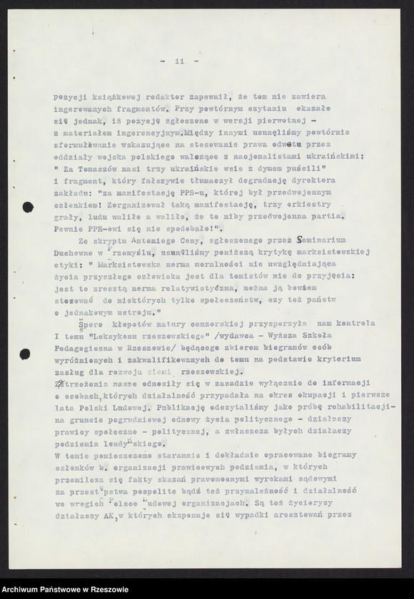 """Obraz 4 z kolekcji """"Wojewódzki Urząd Kontroli Prasy, Publikacji i Widowisk w Rzeszowie"""""""