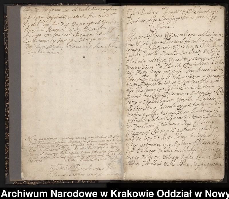 """Obraz 13 z kolekcji """"Fragment księgi wójtowsko-ławniczej miasta Limanowej z lat 1750-1818"""""""