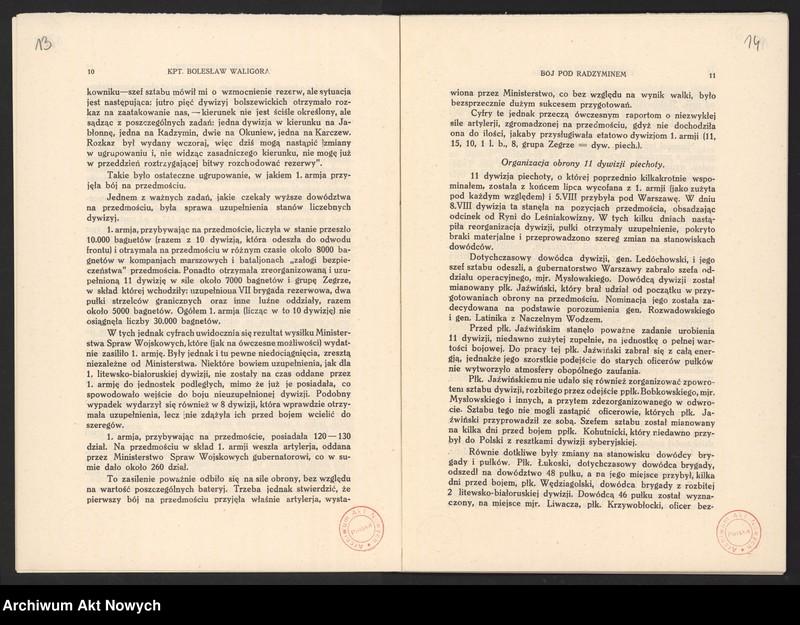 """Obraz 11 z jednostki """"Materiały dotyczące wojny 1920 roku. Odpisy akt, plany, wycinki prasowe. """""""