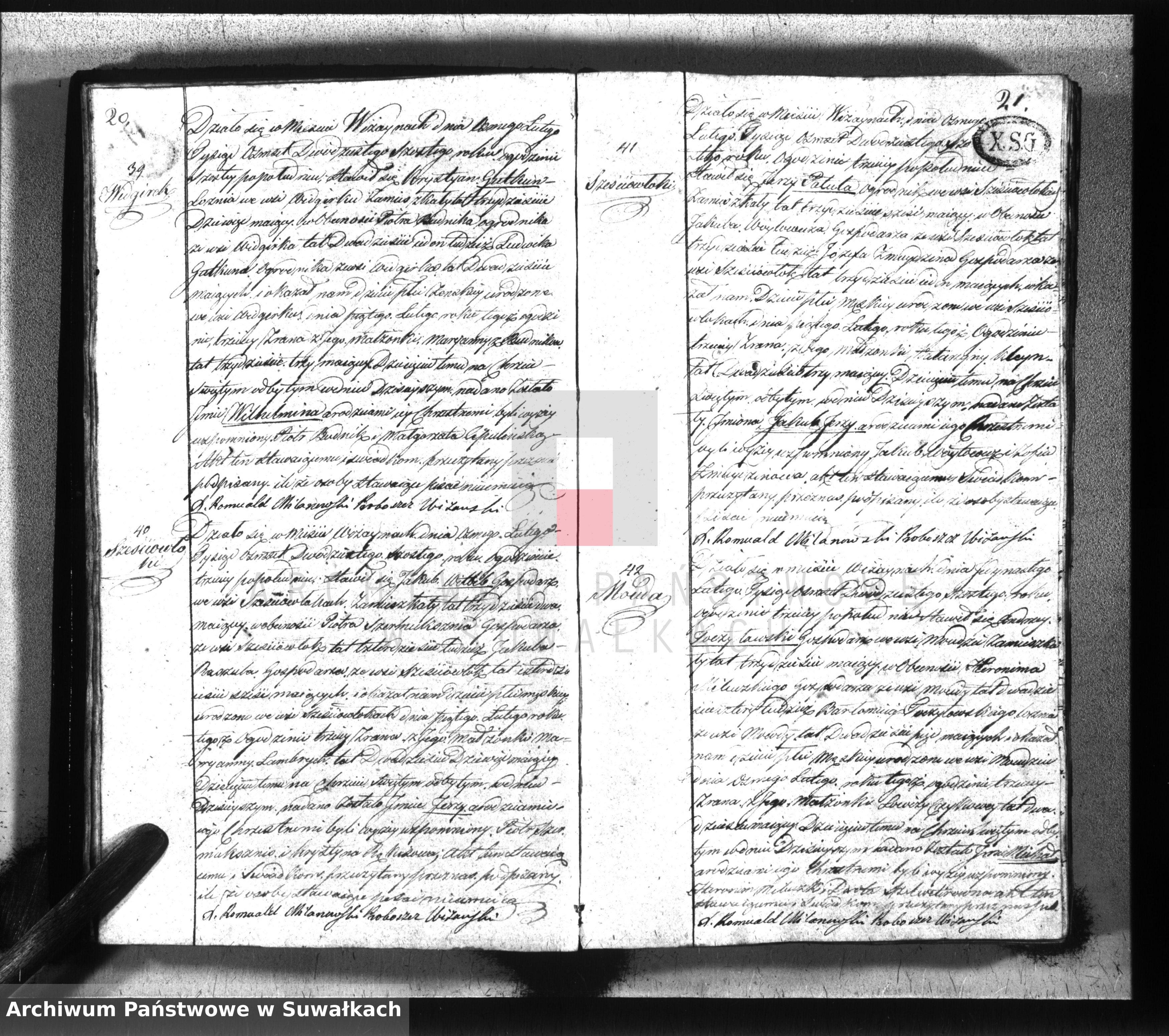 Skan z jednostki: Księga urodzonych, zaślubionych i umarłych gminy wiżańskiey z roku 1826