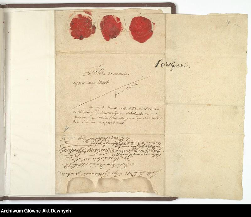 """Obraz z jednostki """"Testament ks. Józefa Poniatowskiego sporządzony własnoręcznie w dniu 28 III 1812 r."""""""
