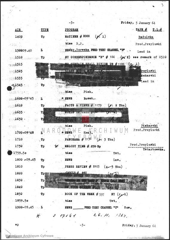 """Obraz z jednostki """"Skrypty audycji z dnia 03.01.1964"""""""