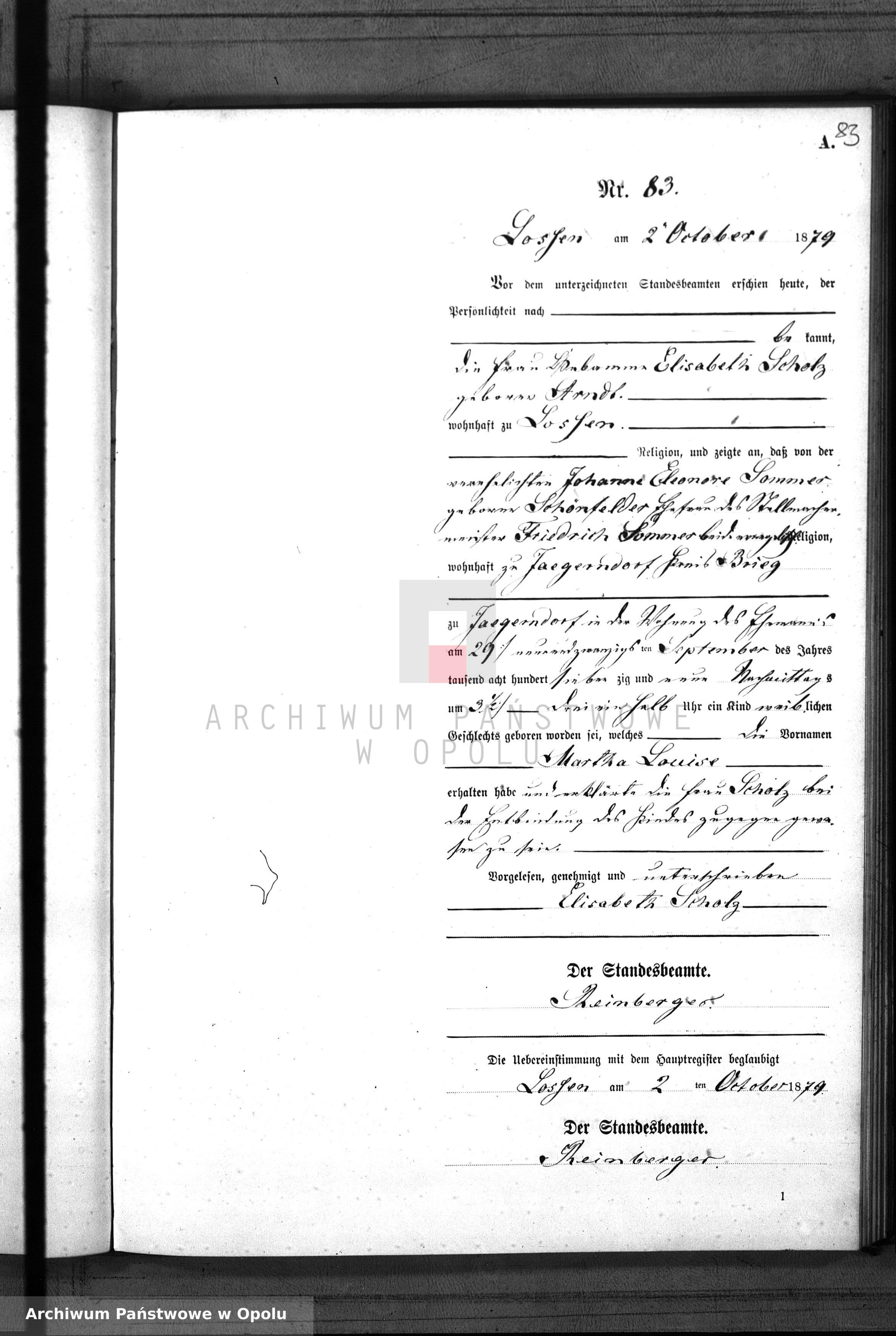 Skan z jednostki: Geburts-Neben-Register Standes-Amt Lossen 1879