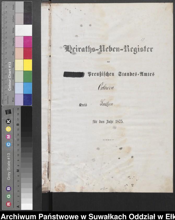 """image.from.unit """"Heiraths-Neben-Register des Preussischen Standes-Amtes Orlowen Kreis Loetzen"""""""