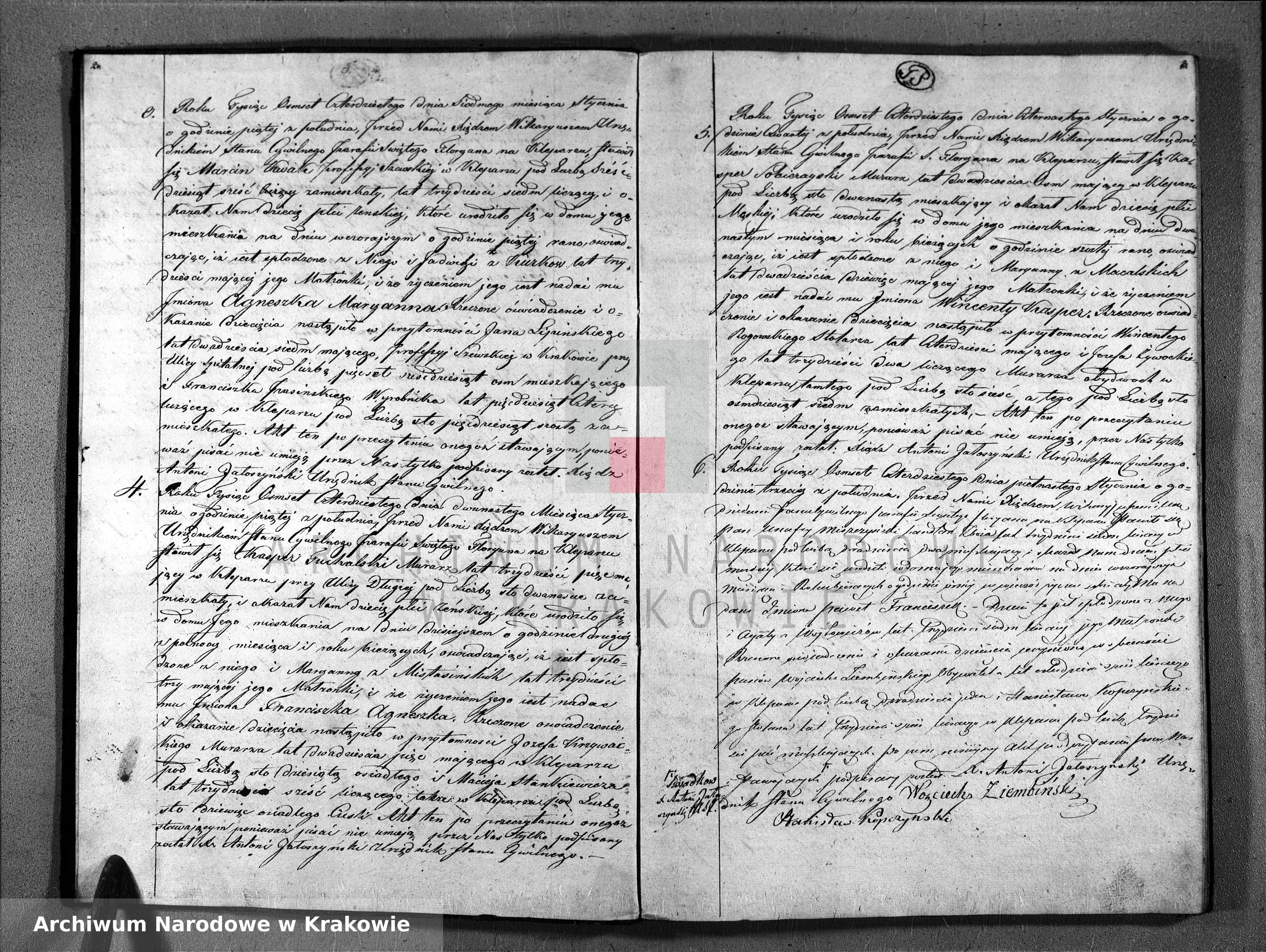 Skan z jednostki: Księga Aktów Urodzenia i Uznania Parafii Sgo Floryana na Rok 1840