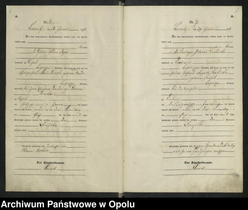 """Obraz 7 z jednostki """"Urząd Stanu Cywilnego Kobylice Księga urodzeń rok 1893"""""""