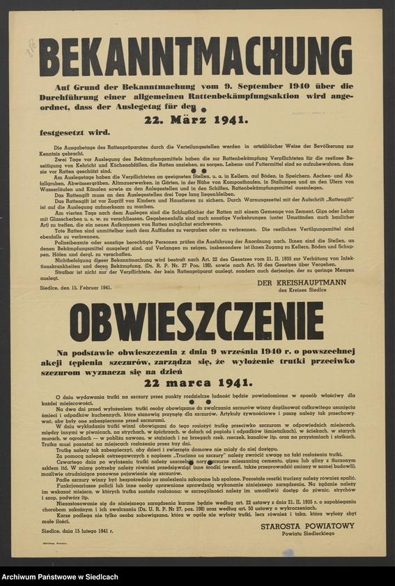 """Obraz 29 z kolekcji """"Afisze okupacyjne powiatu siedleckiego 1939-1944"""""""