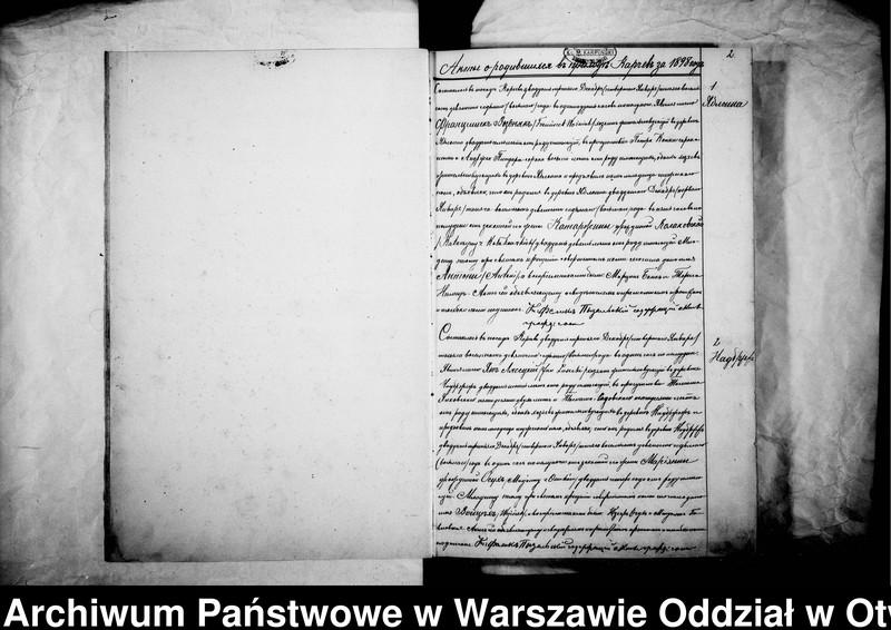 """Obraz z jednostki """"Akta urodzeń, małżeństw i zgonów parafii Karczew za rok 1898"""""""