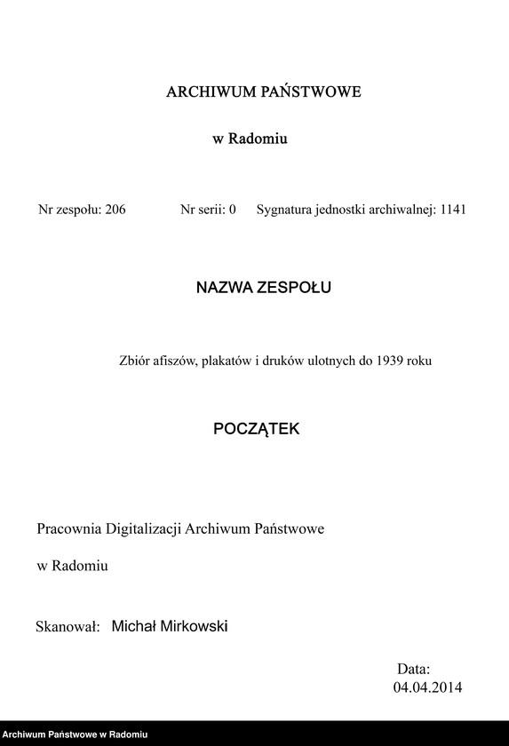 """Obraz 3 z jednostki """"Ogłoszenie Komisji Przeglądowej dla Ochotników przy 3 pp. Legionów w Radomiu w sprawie przyjęć do armii ochotniczej"""""""