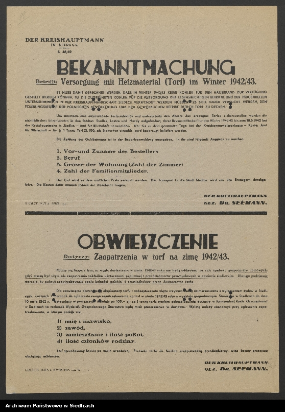 """Obraz 14 z kolekcji """"Afisze okupacyjne powiatu siedleckiego 1939-1944"""""""
