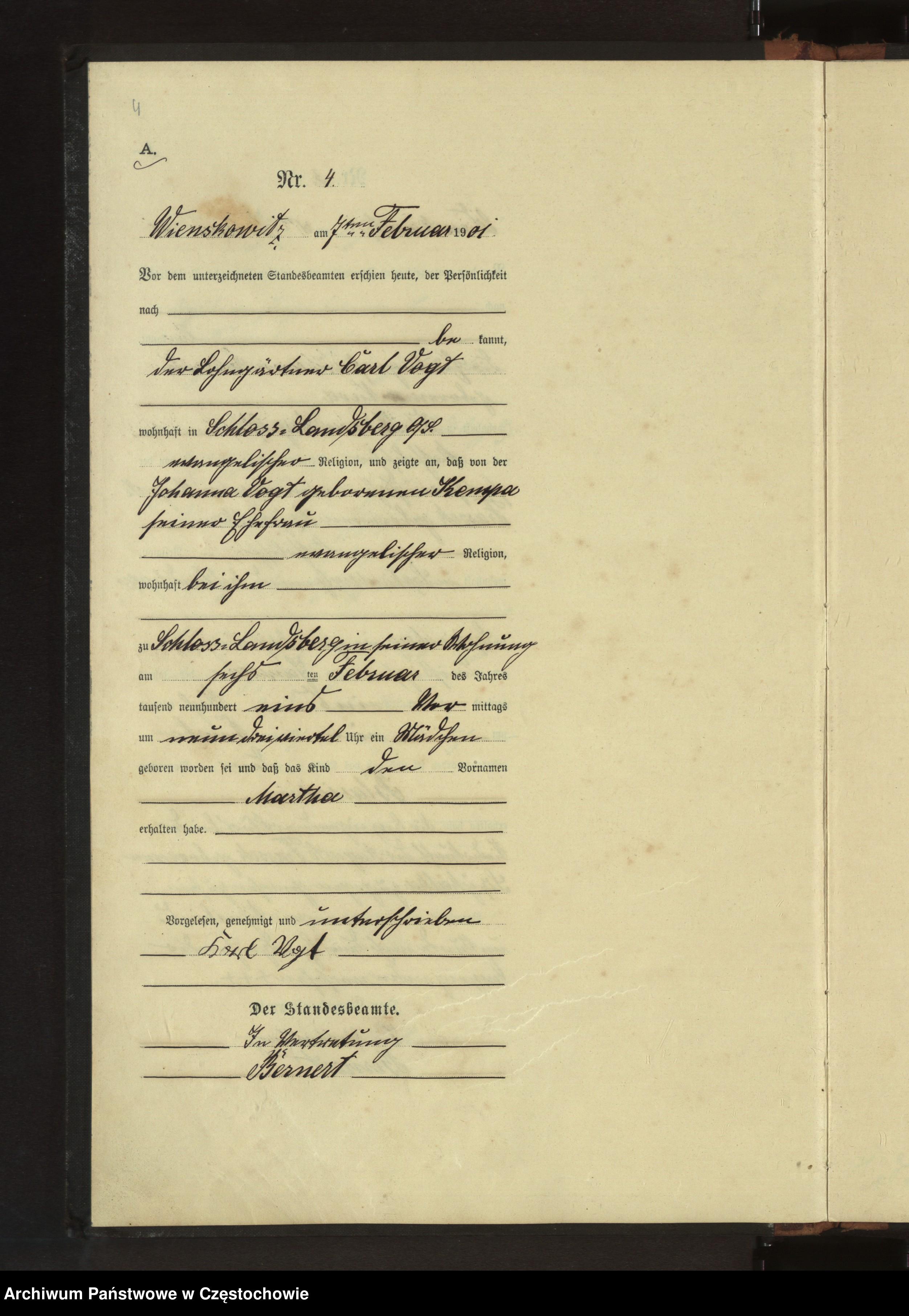 Skan z jednostki: Geburts - Haupt - Register des Koniglich Preussiechen Standesamts Wienskowitz  im Kreise Rosenberg o/ S. pro 1901.