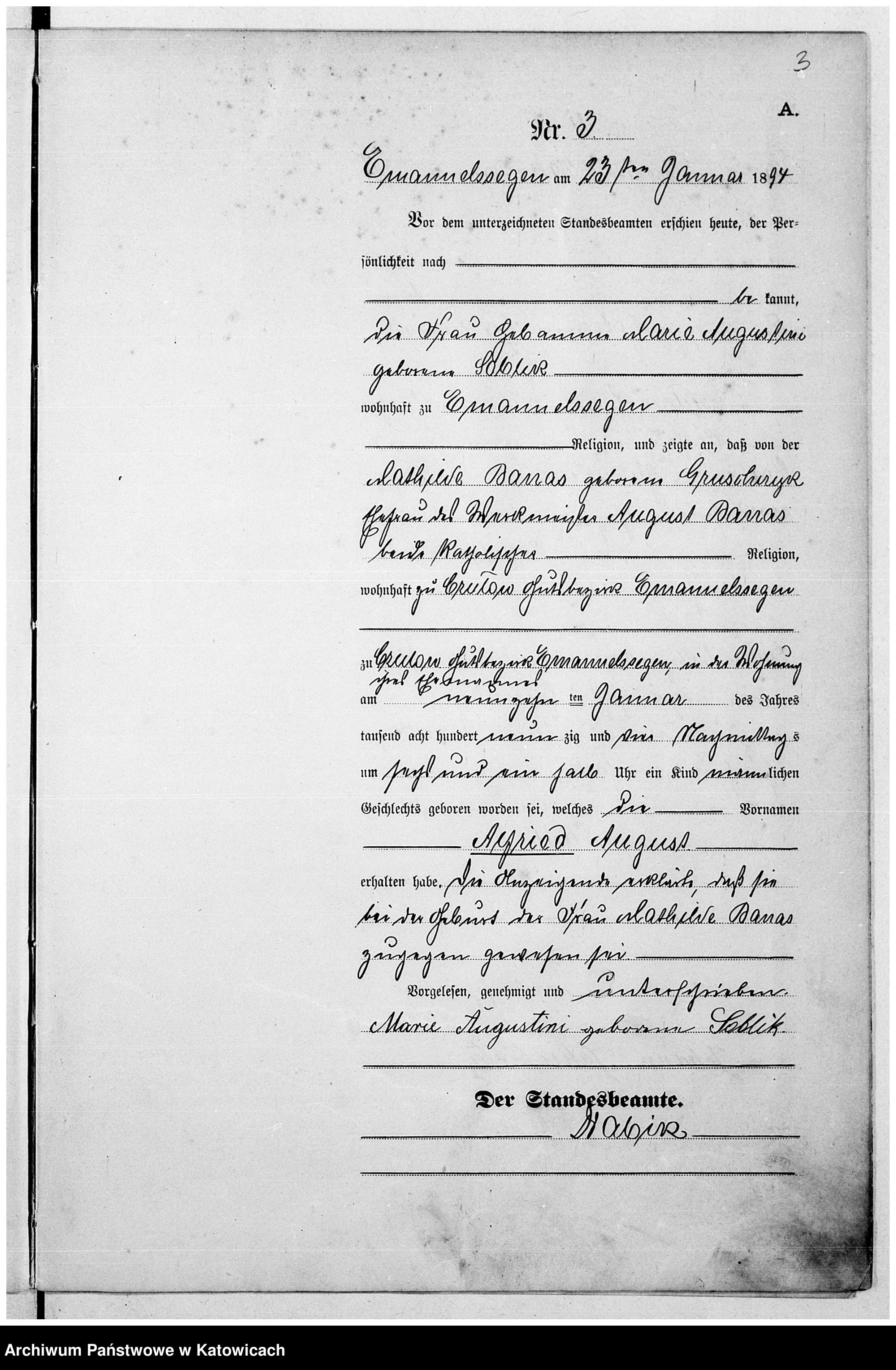 Skan z jednostki: Księga urodzeń nr 1 – 64
