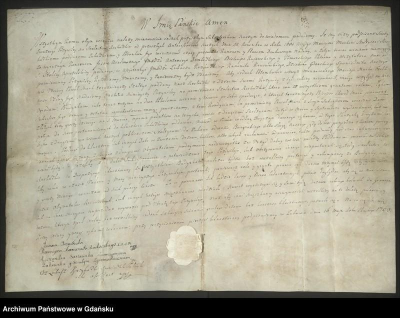"""image.from.unit """"Irena Trembecka, przeorysza klasztoru w Żukowie, z konwentem nadaje Pawłowi Mark sołectwo we wsi (16.05.1763)."""""""