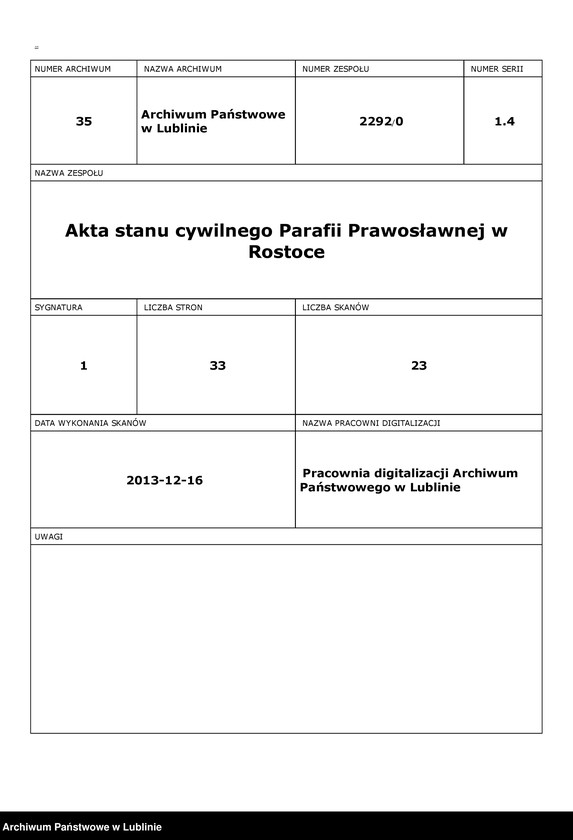 """Obraz z zespołu """"Akta stanu cywilnego Parafii Prawosławnej w Rostoce"""""""