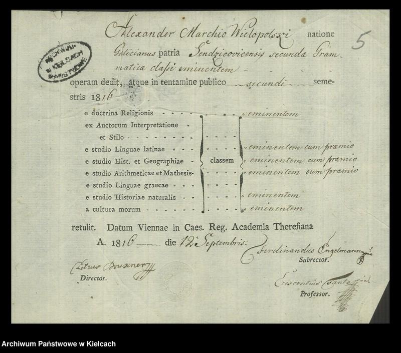 """Obraz 5 z kolekcji """"Świadectwa szkolne Aleksandra Wielopolskiego wydane przez Theresianum w Wiedniu, 1814-1816"""""""