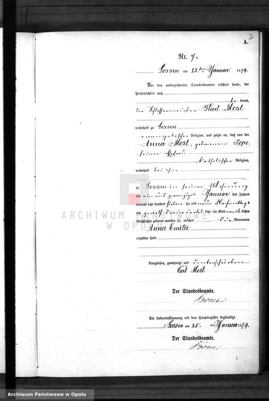 "Obraz 10 z jednostki ""Geburts-Neben-Register Standes-Amt Lossen 1879"""