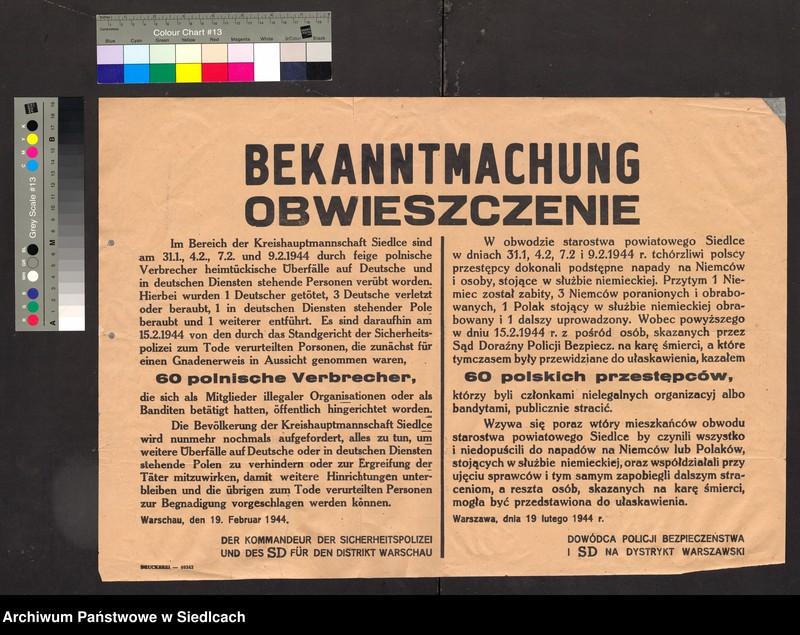 """Obraz 4 z kolekcji """"Afisze okupacyjne powiatu siedleckiego 1939-1944"""""""