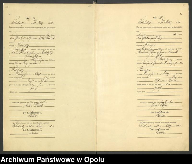 """Obraz 15 z jednostki """"Urząd Stanu Cywilnego Kobylice Księga urodzeń rok 1900"""""""
