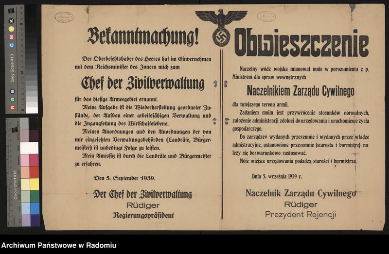 """image.from.unit """"Obwieszczenie - proklamacja Naczelnika Zarządu Cywilnego na terenie okupowanym przez 10. Armię niemiecką - Rudigera. Podpisano: Naczelnik Zarządu Cywilnego, Prezydent Rejencji Rudiger"""""""