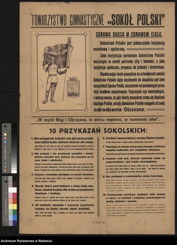 """image.from.unit.number """"Plakat - rycina Tow. Gimnastycznego """"Sokół Polski"""" """"10 przykazań Sokolskich"""" Rysował A. Drumonta"""""""