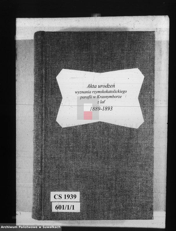 """Obraz z jednostki """"[Akta urodzeń wyznania rzymskokatolickiego parafii w Krasnymborze z lat 1890-1893]"""""""