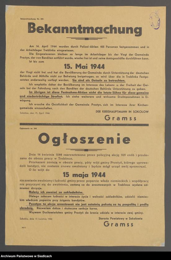 """Obraz 8 z kolekcji """"Afisze okupacyjne powiatu sokołowskiego 1939-1944"""""""