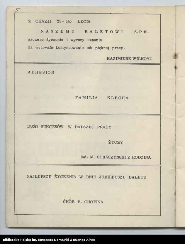 """Obraz 4 z kolekcji """"Nasz Balet 1949-1974 z Biblioteki Polskiej im. Domeyki w Buenos Aires"""""""
