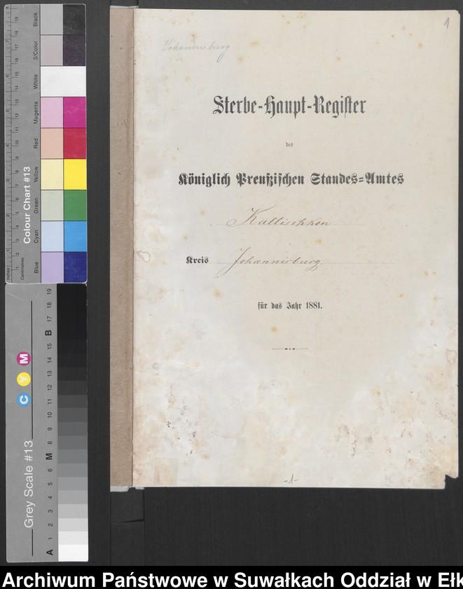 """image.from.unit """"Sterbe-Haupt-Register des Königlich Preussischen Standes-Amtes Kallischken Kreis Johannisburg]"""""""