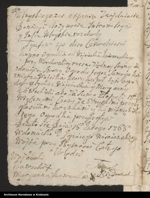 """Obraz 10 z kolekcji """"Fragment księgi wójtowsko-ławniczej miasta Limanowej z lat 1750-1818"""""""
