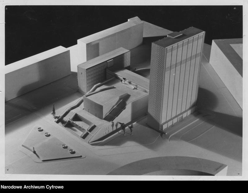 projekt siedziby Polskiego Radia przyjęty jako podstawa dalszych prac, kompleks 3 budynków, dwa skrajne to budynki techniczne i biurowe, jeden z nich miał mieć 22 pietra i mieć na dachu antenę telewizyjną, środkowy to blok studiów